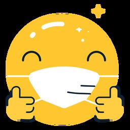Emoji pulgar hacia arriba con mascarilla plana