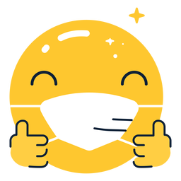 Emoji thumbs up with facemask flat