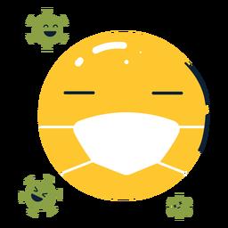 Emoji con mascarilla y esporas planas