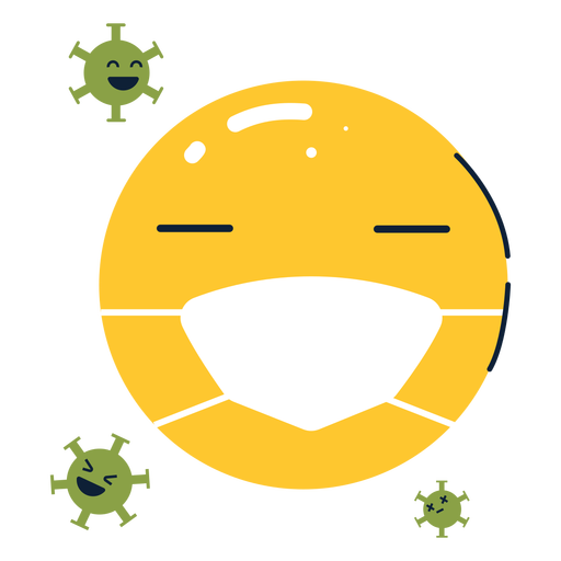 Emoji with facemask and spores flat