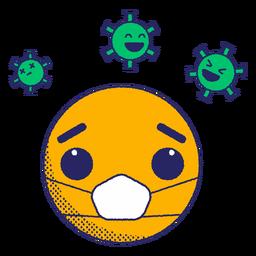 Emoji con esporas de virus planas