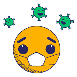 Emoji with virus spores flat