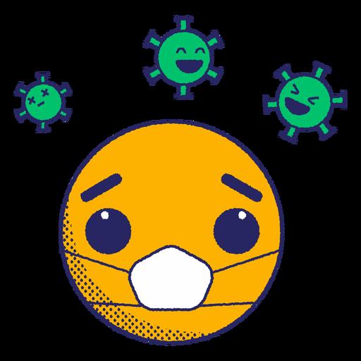 Emoji with virus spores flat