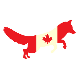 Fox with canada flag flat