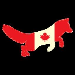 Fuchs mit Kanada Flagge flach