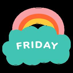 Friday rainbow label