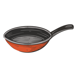 Frying pan colored hand drawn
