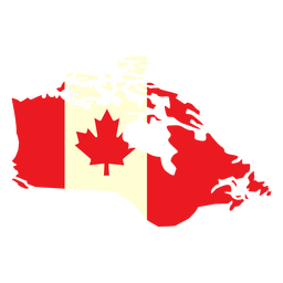 Geographic country with canada flag flat