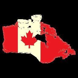 País geográfico con bandera de canadá plana