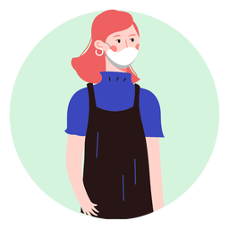 Ginger woman with facemask character