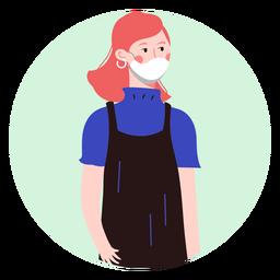 Mujer de jengibre con carácter de mascarilla