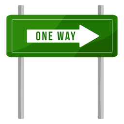 Green one way sign flat