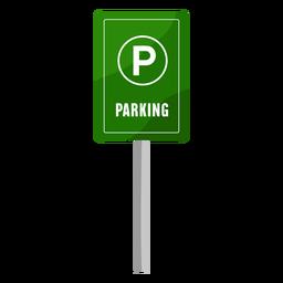 Green parking sign flat