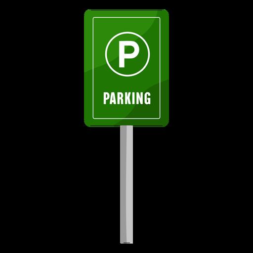Señal de estacionamiento verde plana