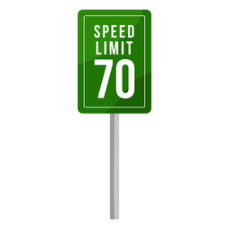 Green speed limit sign flat