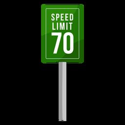Señal de límite de velocidad verde plana