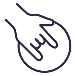 Icono de bola de boliche agarrando la mano