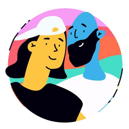 Happy lgbtq couple badge Transparent PNG