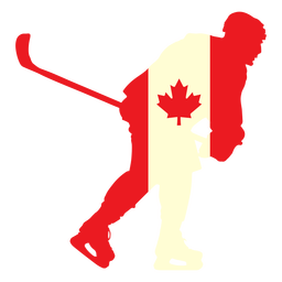 Hockey player on canada flag flat