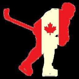 Jugador de hockey en la bandera de canadá plana