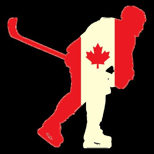 Jugador de hockey en la bandera de canad? plana