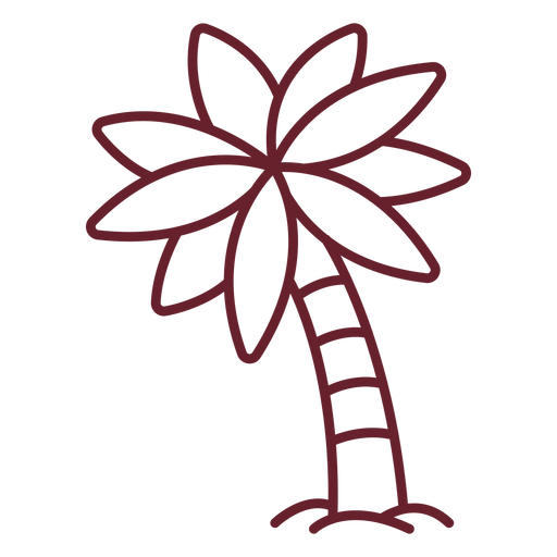 Inclined palm tree stroke Transparent PNG