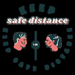 Keep safe distance lettering