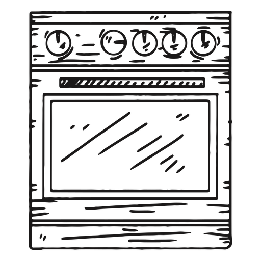 Horno de cocina detallado dibujado a mano