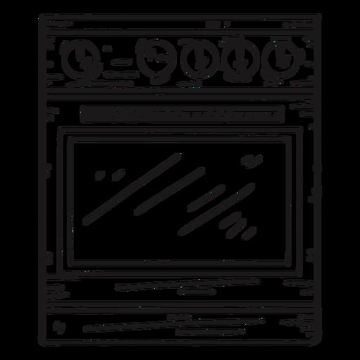 Kitchen oven detailed hand drawn