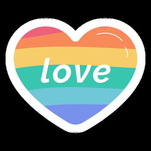 Adesivo de coração com arco-íris de amor