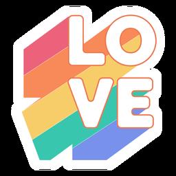 Etiqueta engomada del arcoiris de amor