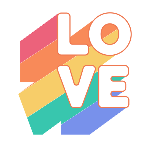 Love rainbow sticker Transparent PNG