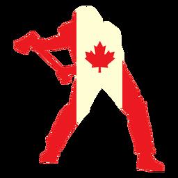 Leñador en la bandera de Canadá plana
