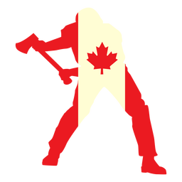 Lumberjack on canada flag flat