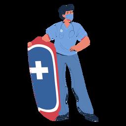 Hombre enfermera con personaje de escudo