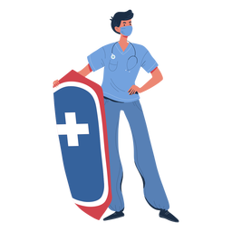 Man nurse with shield character
