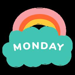 Etiqueta de arcoiris de lunes