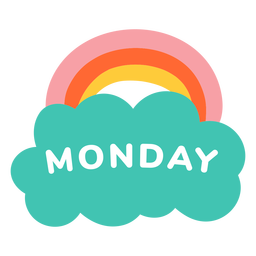Monday rainbow label