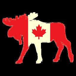 Alces con bandera de Canadá plana