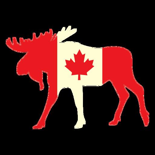 Alce con bandera de canadá plana