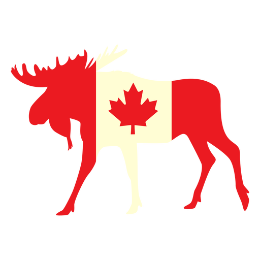 Moose with canada flag flat Transparent PNG