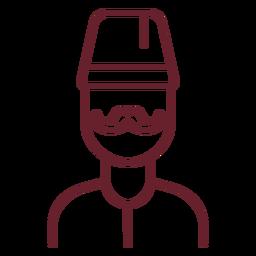 Hombre bigote con trazo fez
