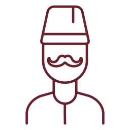 Moustache man with fez stroke