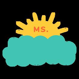 Etiqueta do nome da professora na nuvem
