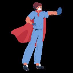 Enfermera heroína con carácter de capa.