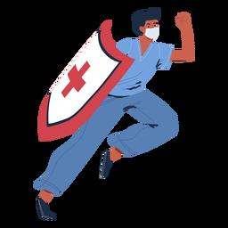 Enfermera con personaje de escudo