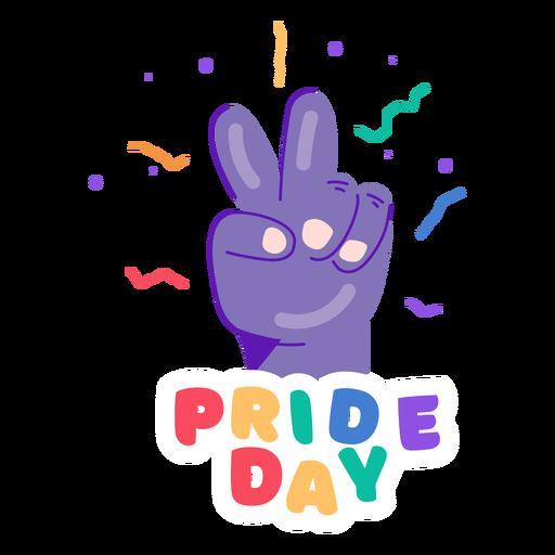 Pegatina del día del orgullo del signo de la paz