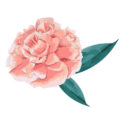Flor rosa con hojas de acuarela