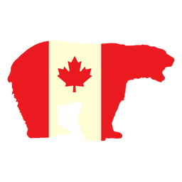 Polar bear with canada flag flat