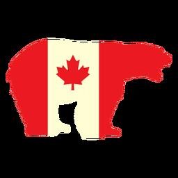 Urso polar com bandeira do Canadá plana